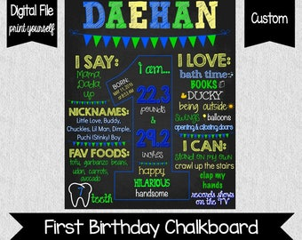 Boy's First Birthday Chalkboard Sign - DIGITAL - Printable - Green, Yellow, Blue - First Birthday Sign - First Birthday Sign - 1st Birthday