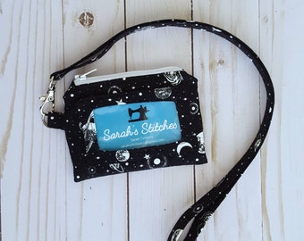 ID Wallet, ID Lanyard, Outer Space Wallet, Science ID wallet, Valentines gift, Small Wallet, Student lanyard