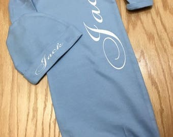 Personalized infant gown; infant sleep gown, personalized infant sleeper