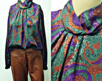 80's 90's WILD SHINNY PASILY Print high neck,women's blouse