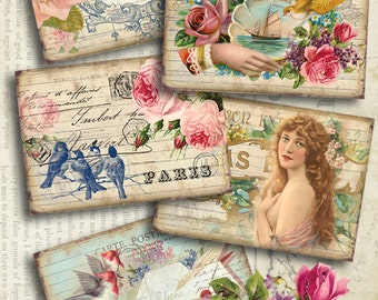 """VINTAGE DREAM - Printable Gift Tags Digital Collage Sheet Downloadable 2.5""""x3.5"""" size images for Paper craft Jewelry holders by Art Cult"""