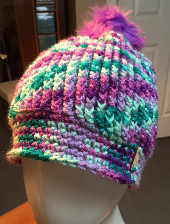 Purples/Lavender/Teal/Mint Ribbed Hat with Purple Faux Fur Pom Pom