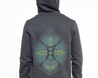 Mens Hoodie Jacket Screen Printed Hooded Sweatshirt Zippered Hoodie Psychedelic Psy Clothing Burning Man Festival Clothing Men