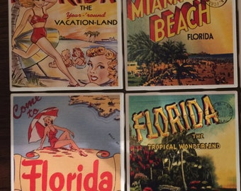 Vintage Florida Coasters-Set of 4