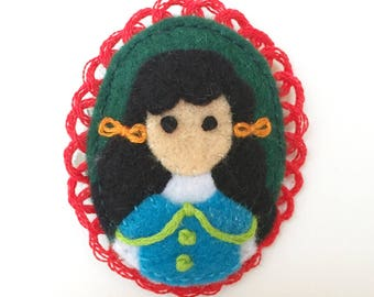 Diana Barry Embroidered Felt Brooch