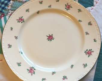 Vintage Dinner Plate Rambler Rose Eggshell Georgian Homer Laughlin Made in The USA #3741