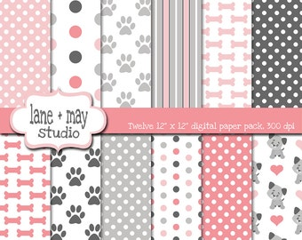 digital scrapbook papers - pink and gray puppy dog theme patterns - INSTANT DOWNLOAD