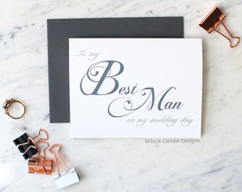 To My Best Man On My Wedding Day Card | Card for Best Man | Gift From Groom to Best Man | Wedding Stationery | Wedding Thank You Card | Note
