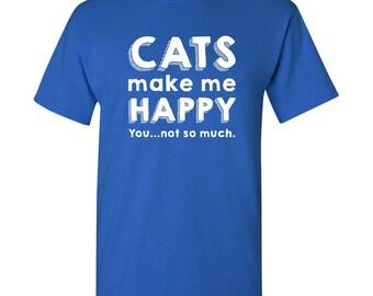 Cats Make Me Happy Funny T Shirt - Royal Blue