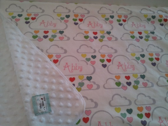 Custom Personalized Organic Cotton Blanket - Rainbow Heart Showers pink Baby Girl,Toddler  Blanket, New Baby gift, Birthday Girl Gift