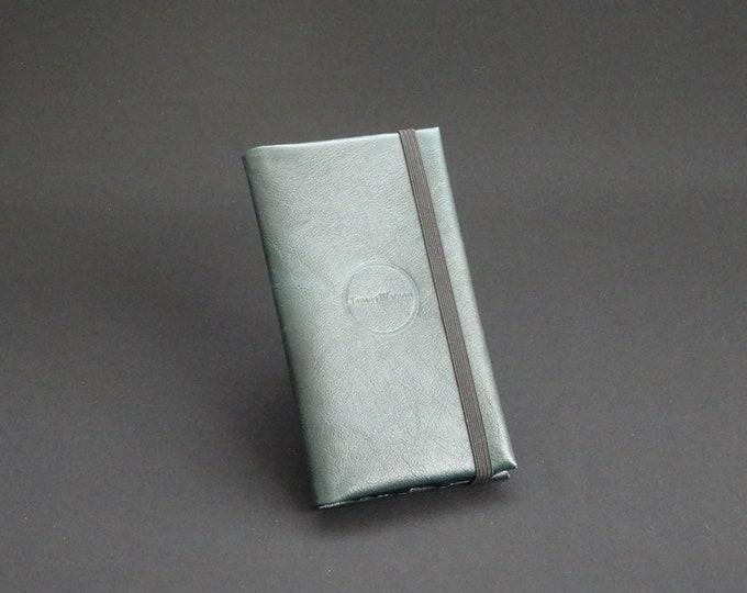 Apple iPhone 8 7 6 6S - Smartfold Phone Wallet - Genuine Kangaroo Leather Phone Protective Rubber Case Wallet RFID - Dark Green