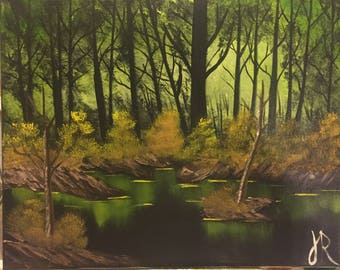 Bob Ross Style Landscape Oil Painting- Swamp At Night