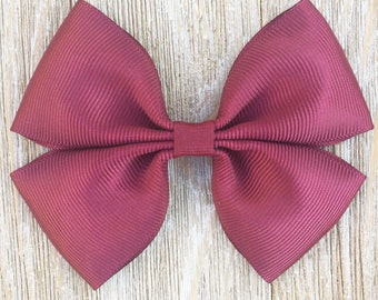 Maroon Stacked Grosgrain Ribbon Hairbow for Girls Back to School Everyday wear on French Barrette or Clip or baby Headband