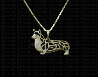 Pembroke Welsh Corgi - Gold pendant and necklace.