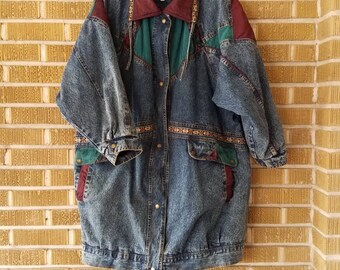 80s/90s plus size long line denim jacket, current seen, decorated -22-