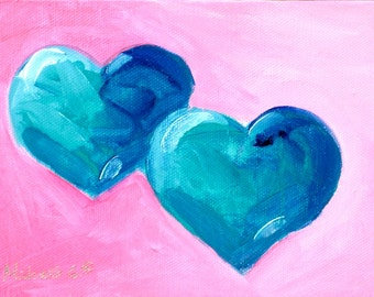 Anniversary Gift, Original Painting, Two Hearts, Blue Hearts, Wedding Gift, Valentine Gift, For Him, For Her, For Teen, Gift For Wife, OOAK