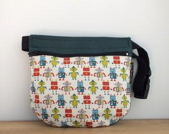 Robots kids bum bag, robot fabric bag, small summer bag, boys accessories