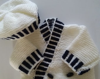 Baby Boys White and Navy Crossover Cardigan and Hat.