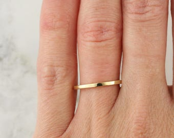 Thin Gold Band, Flat Band Ring, Thin Gold Ring, Solid Gold Band, 1 mm Band Ring, Thin Wedding Band, Gold Stacking Ring, Petite Gold Band