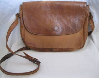 Distressed Brown Leather Fifth Avenue Crossbody