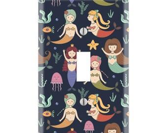 Mermaid Light Switch Cover, Mermaid Light Switch Plate, Mermaid Switch Cover, Mermaid Plate Cover, Mermaid Lover Light Switch Cover TF12