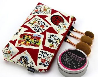 cosmetics pouch, cotton pouch, travel pouch, large cosmetic pouch, zipper cosmetic bag,Cats Red