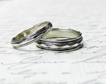 """Vintage Style Sterling Silver Pattern Wedding Bands - Matching pair """"Fancy Diamond"""""""