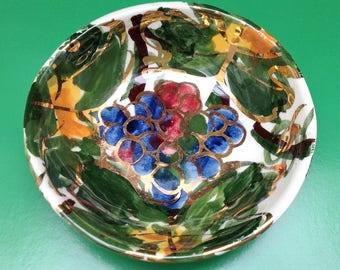 Vintage Calpotter pin dish - abstract grapes design in gold, green, blue and ruby red