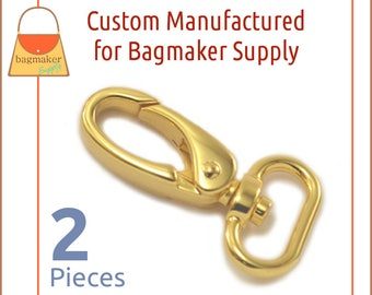 3/4 Inch Shiny Gold Oval Gate Swivel Snap Hook, 2 Piece Pack, Purse Clips, Handbag Bag Making Hardware Supplies, SNP-AA148