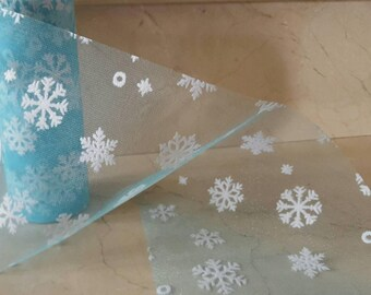 2 metres of blue tulle with snowflakes