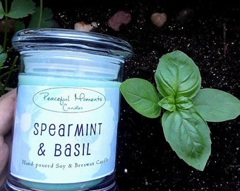 Spearmint & Basil- Soy and Beeswax Candle