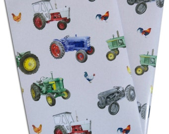 Tractor and Chicken farm wrapping paper; 2 sheets 50cm x 70cm