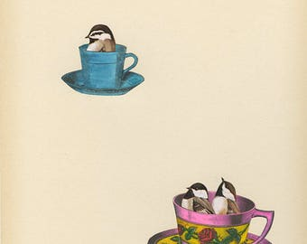 Chickadee tea party. Original collage by Vivienne Strauss.