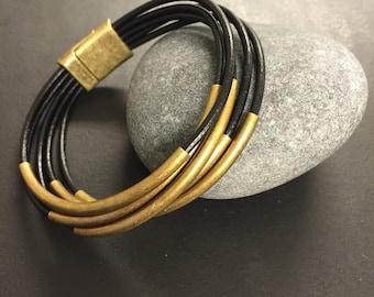 Leather Wrap Bracelet - Black Leather Wrap Bracelet