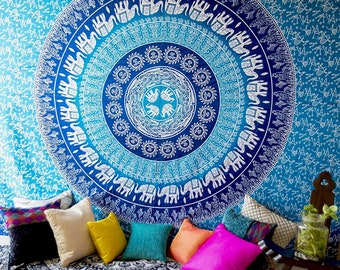 Multicolor Hippie Indian Handmade Mandala Tapestry Queen Size Wall Hanging Multi Purpose