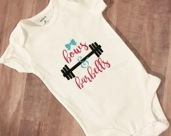 Bows & Barbells bodysuit, baby bodysuit, workout baby, athletic baby, exercise baby, baby gift, baby clothes, trendy baby, fitness baby