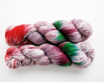 Knitting Yarn, Sock Yarn Superwash,Hand-dyed, Speckled, Soft Merino Wool, Fingering Weight  Diamond Luxury 'Foot Loose'
