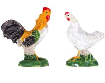 Dollhouse Miniature, Fairy Garden, Rooster & Hen Set 1:12 Scale