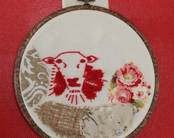 Red Sheep, embroidery art