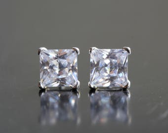 Cubic Zirconia Stud Earrings - Sterling Silver Square Stud Earrings - Diamond Earrings - 5mm Cubic Zirconia Earrings - Sparkly Earrings  B52