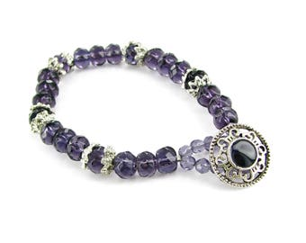 Faceted Amethyst Crystal Beads Fancy Button Toggle Bracelet