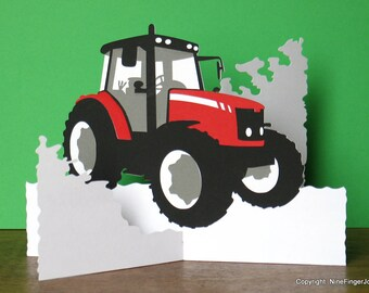 Fathers Day Card, Tractor, Birthday Card, Easter Cards, Tractor Gifts, Gift For Farmer, Pop Up Card, Red Tractor Card, Red Tractor, Gift