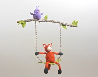 baby mobile, fox baby mobile, fox nursery, fox crib mobile, woodland nursery mobile, gender neutral, fox hanging crib mobile, animal decor