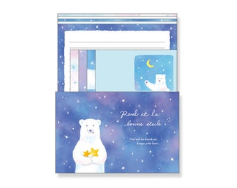 Japanese Letter Set - Delicious Star / Letter Writing Set, Japanese Stationery, Writing Papers And Envelopes, Constellation, Polar Bear