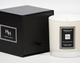 Musky Amber & Rose luxury candle, HH (9 OZ.)