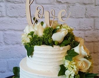 Love Cake Topper - UNPAINTED Wooden Monogram Cake Topper - Wedding Cake Topper - Birthday Cake Topper