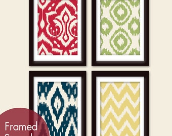 Ikat Tribal Patterns (Series A) -Set of 4 - Art Prints (Featured in Apple Red, Basil, Navy and Wheat on Soft Cream)