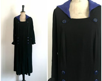 Antique 1920s Black Jersey Maxi Flapper Day Dress with Blue Details / Size Medium to Large