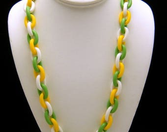 Crown Trifari Vintage Necklace 1960s Lucite Link Chain Green Yellow White