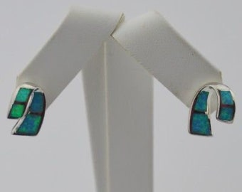Sterling Silver 925 Estate Opal J Hoop/Hook Earrings